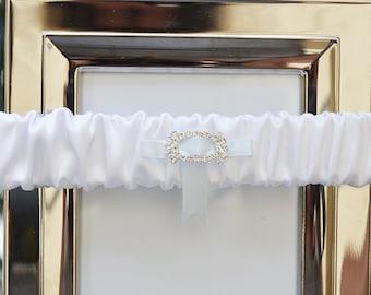 White Satin Wedding Garter, White Garter, Wedding Garter, Satin Garter, Diamante Charm, Bridal Garter