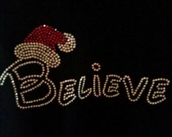 Believe Christmas bling shirt, Believe with Santa hat rhinestone t-shirt