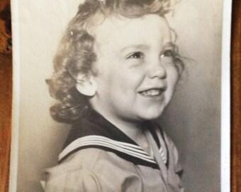 Vintage Photo Picture 8x10 Little Girl Sailor Suit Portrait Curly Hair Black & White 1930s Photography Original Print Studio