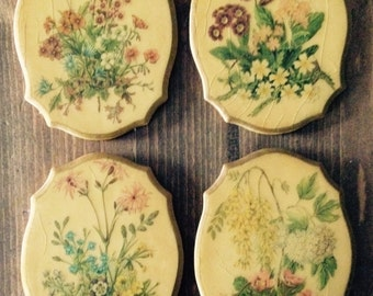 Vintage Sconce Set (Floral Plaque Sconces)