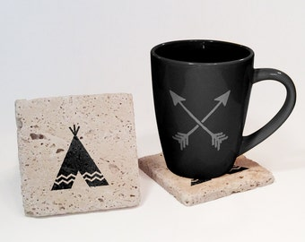 Stone drink coasters etsy for Natural stone coffee mugs