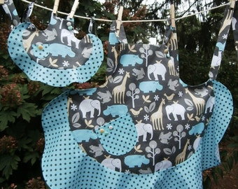 Jungle Critter youth and dolly apron set