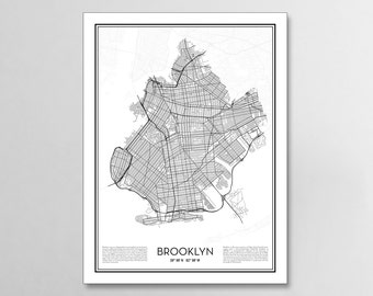 Brooklyn New York City Map, Minimalist city maps, Brooklyn Poster, Wall Art Gift
