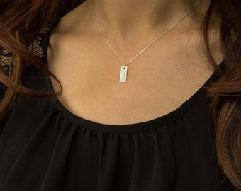 Simple Personalized Tag Necklace / Small Tags Necklace / Engraved Date, Delicate Silver Necklace, Sterling Silver (Bar drop 16x6 mm)