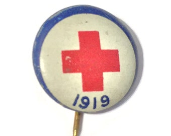 One Vintage Red Cross Pin 1919 Antique WW I Collectible ARC Pinback Randomly Selected Free USA Shipping!