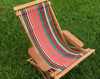 Red, Aqua, Orange and White Stripes Reclining Outdoor Hardwood Chair