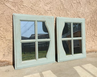 Chabby Chic Distressed Mirrored Cabinet Doors Annie Sloane Duck Egg Paint