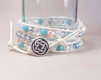 Turquoise, pink, and silver leather wrap bracelet