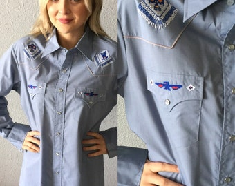 Vintage South Western Embroiderd Ranch Wear Shirt
