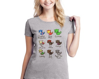 Ladies Fitted Cat Avengers T-Shirt based on the Film Funny