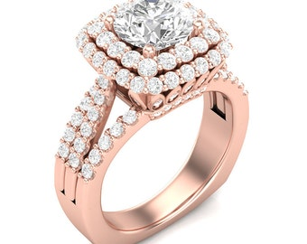 Rose Gold Engagement Ring Halo Ring Double Halo 14K Gold 1.40ct Round Diamonds Semi Mount for 1.5ct Round Center Three-Row Shank Ring