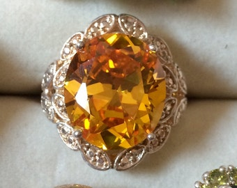 Sterling Silver Yellow Stone Ring Size 7