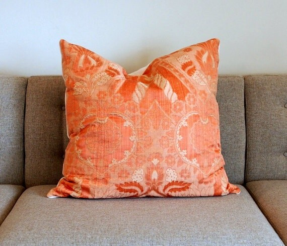 Silk Pillow Large Pillow Coral Pillow Coral By TasseliTextiles