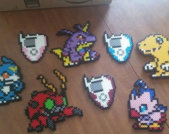 Rookie Digimon & Digivice Perler Magnet Set