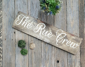 Wooden Established Sign, Hand Painted Family Name Sign, Wooden Wall Art, Rustic Wall Art, Wooden Gallery Wall Sign, Housewarming Gift