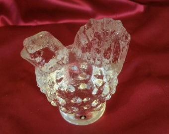Vintage Crystal Hobnail Hen Paperweight with Makers Mark
