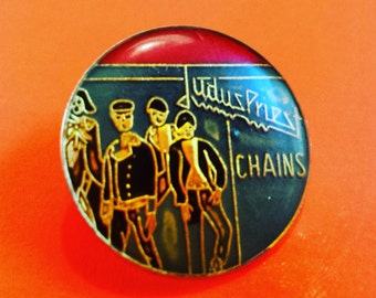 Judas Priest - Chains enamel pin button rock metal music band musician artist group 70s '80s 80's 80s 1980s eighties '90s 90's 90s nineties