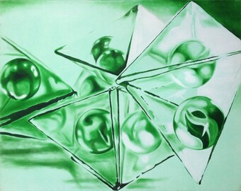 Green Marbles, Original Hand Made Oil on Canvas Modern Painting