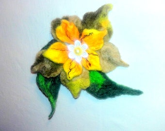 Yellow Felted Flower/Brooch