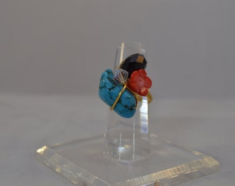 Wired turquoise,red coral and Swarovski Crystal Gold Tone Ring