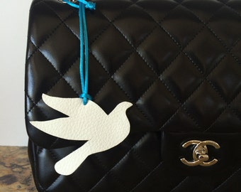 Leather Bird Bag Charm on Silk Cord