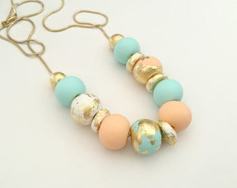 Mint, Peach and Gold Leaf Polymer Clay Necklace