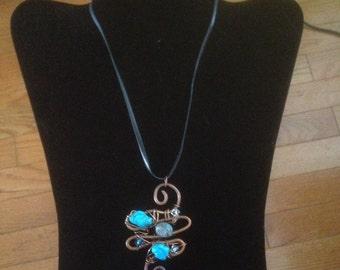Copper Wire Pendant Necklace