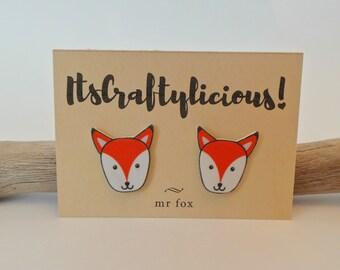 Fox polyshrink earrings