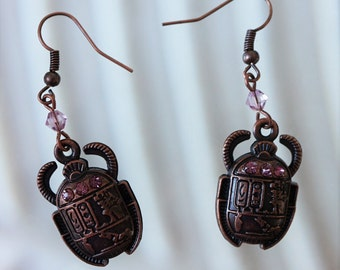 Egyptian Scarab Beetle with crystals Copper Dangle Earrings