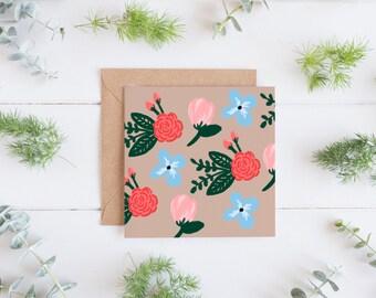 Dainty Floral Notecard, Blank Notecard, Blank Floral Card