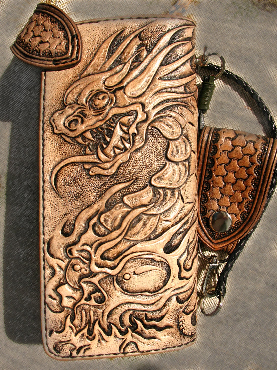Tooled biker wallet dragon skull sheridan belt loop braided