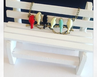 Hanging birds on the swing lacquered in sweet colors, hand-assembled necklace jewelry, leather necklace, gift for her, mother, kawaii