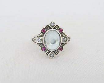 Vintage Sterling Silver Aquamarine & Ruby Ring Size 7