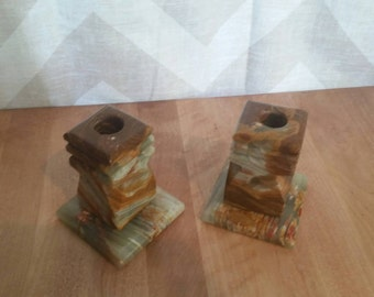 Vintage Hand Made Stone Candle Holders
