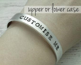 Customise Me personalised hand stamped bracelet, customised bangle, hand stamped bangle, gift for mum mon, daughter, for wife, girlfriend
