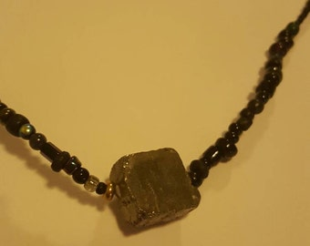 Pyrite Square with Black and Metallic Seed Beads