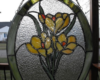Stained Glass Yellow Crocus Flower Suncatcher