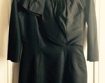 1950s Black ruffled dress by Abe Schrader