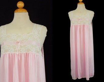 Vintage Pink Nightgown, Deena White Lace, Size Large Shift