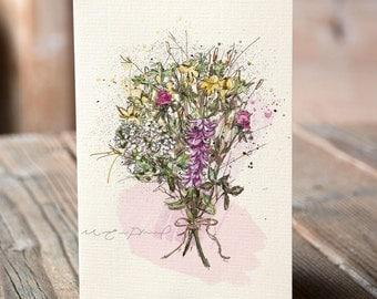 Items similar to carte bouquet de fleurs bon anniversaire for Bouquet de fleurs quebec