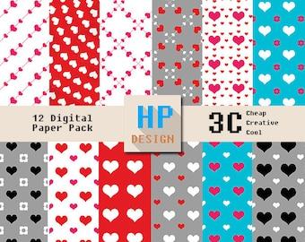 Love Color Digital Paper Pack