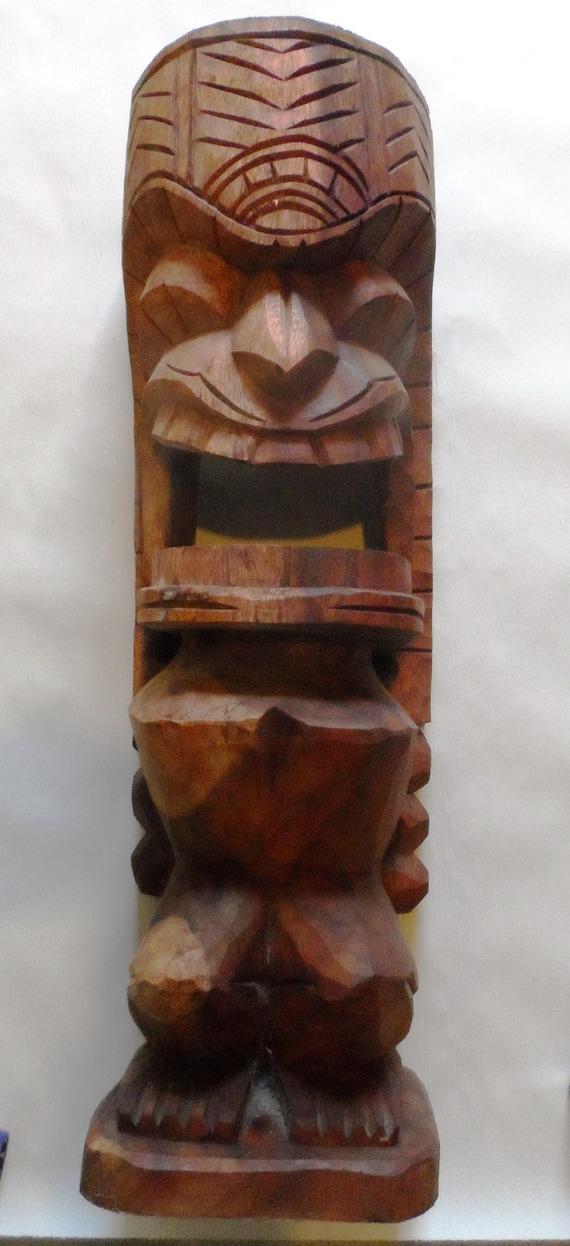 Items Similar To Tiki Wood Carving Tkibtrn26 On Etsy