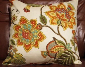 Yellow Orange and Green Floral pillow cover 16X16 - 1 in stock. Contact me for larger quantity as I can usually buy more of this fabric