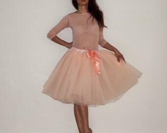 Tulle skirt petticoat apricot pastel skirt length 55 cm
