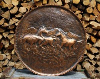 Horses nature painting handmade copper wall
