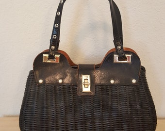 Vintage Neusteters Black Straw Handbag