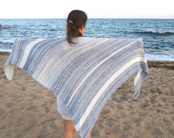 Cotton summer shawl - Knitted shawl - Natural color - Summer wrap - Cotton stola