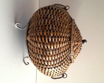 Handcrafted Pot Belly Rattan Basket on Metal Frame and Legs and Metal Ribbed Cover
