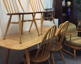 Ercol Plank Table & 4 Quaker Chairs
