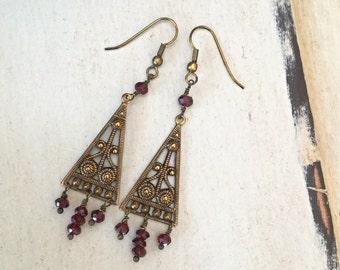 Vintage Victorian antique brass filigree red garnet dangle drop earrings